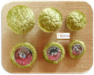 Cushion buttons Microfibre Olive Shimmering