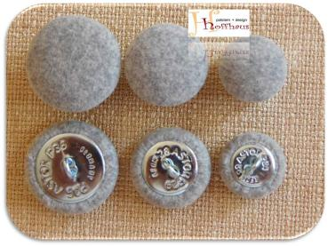 Cushion buttons grey - Light grey speckled