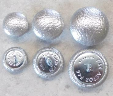Upholstery buttons metallic silver leatherette