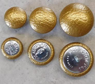 Upholstery buttons imitation leather metallic gold