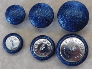 Upholstery buttons leatherette blue glitter