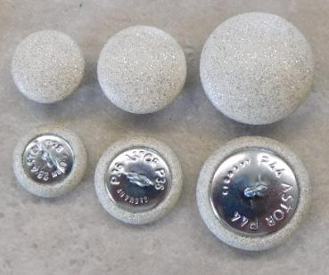 Upholstery buttons imitation leather white glitter