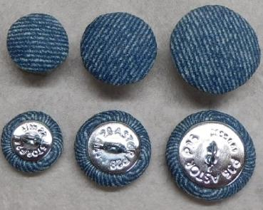 Upholstery button microfibre jeans look blue