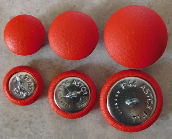 Upholstery buttons red leatherette