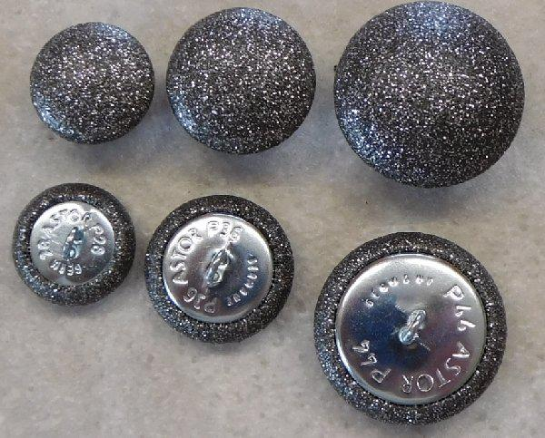 Upholstery buttons leatherette grey glitter